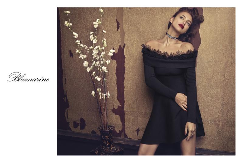 An image from Blumarine's fall 2017 advertising campaign starring Irina Shayk