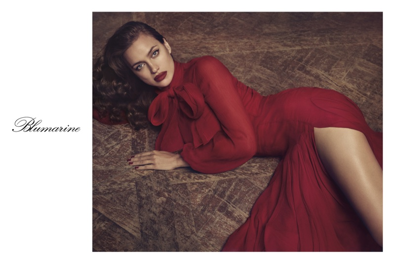 Looking red hot, Irina Shayk appears in Blumarine's fall 2017 campaign