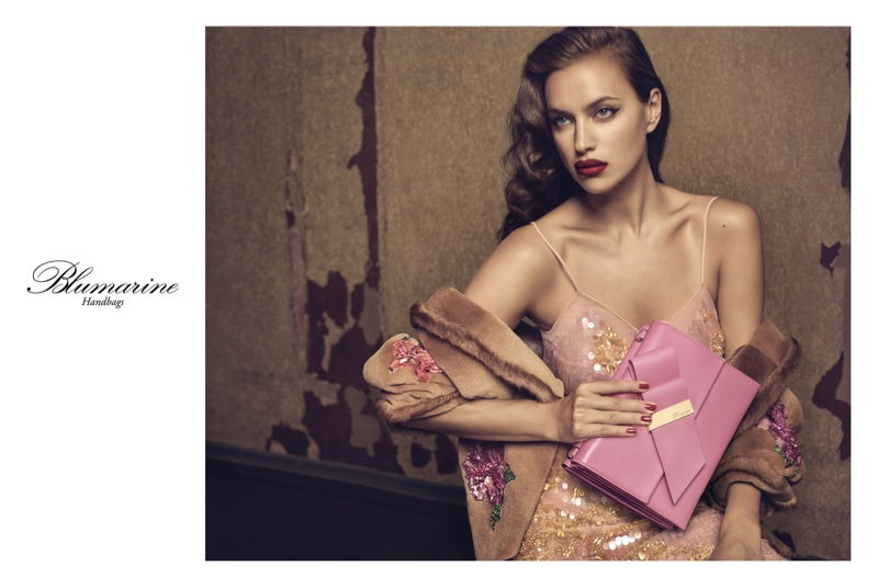 Model Irina Shayk looks pretty in pink for Blumarine's fall 2017 campaign