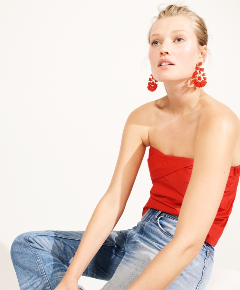J. Crew Strapless Cross-Front Top, Point Sur Vintage Straight-Leg Jean and Disc Statement Earrings