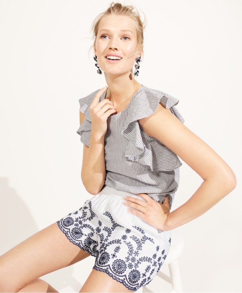 J. Crew Ruffle Top in Stripe, Pull-On Short with Floral Embroidery and Sequin Drop Earrings