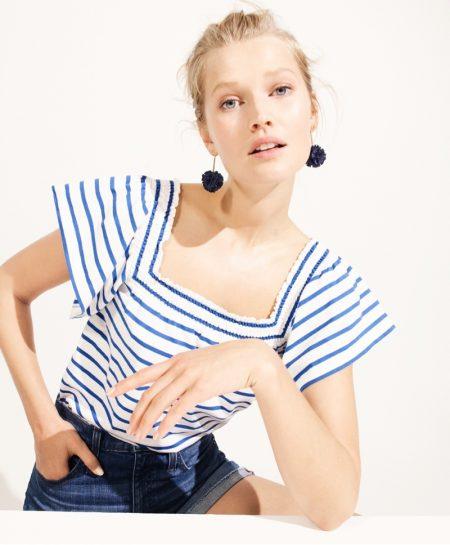 Toni Garrn Models J. Crew's Statement Earrings for Summer
