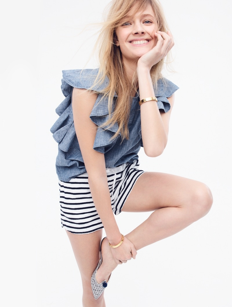 J. Crew Ruffle Top in Chambray, Striped Terry Short, Gold-Plated Hinge Bracelet and Ikat Pointed-Toe Mules