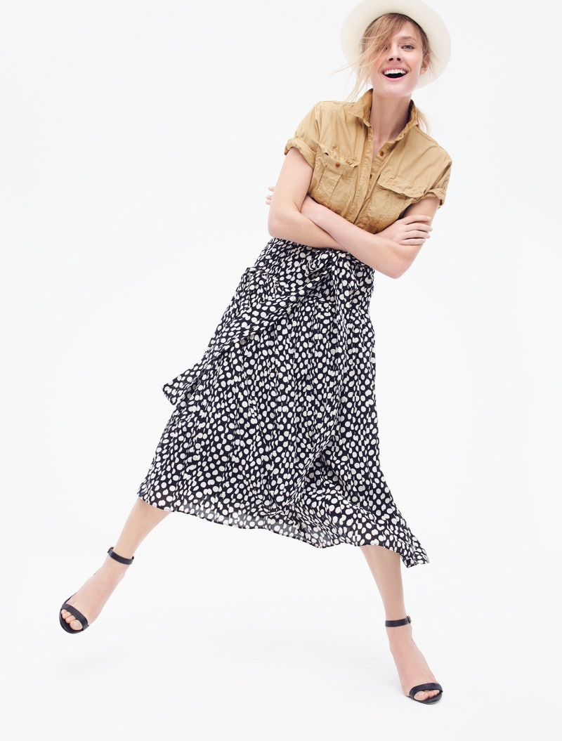 J. Crew Garment-Dyed Utility Popover, Silk Skirt in Ratti Polka Dot, Panama Hat and High-Heel Ankle-Strap Sandals