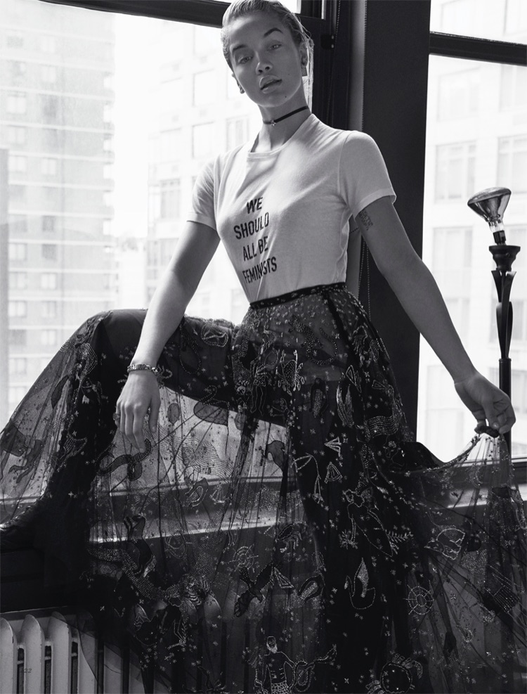 Jasmine Sanders Poses in the Spring Collections for Harper's Bazaar Kazakhstan