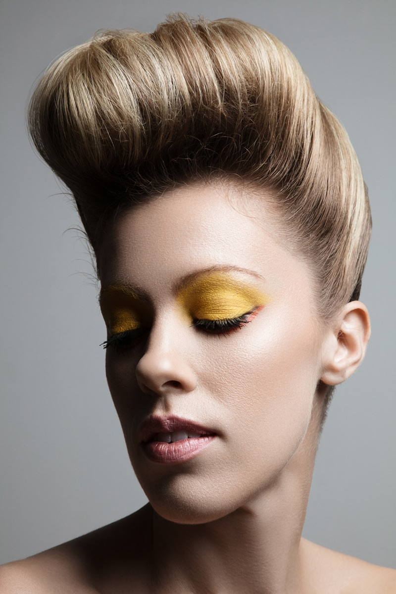 Model Hillary Holmes wears yellow eyeshadow. Photo: Jeff Tse