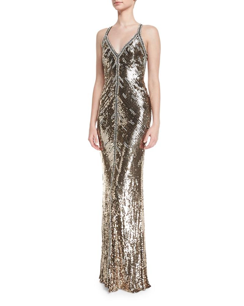Jenny Packham Sequined Halter V-Neck Gown $6,475