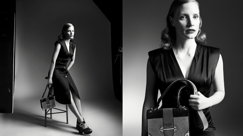 Jessica Chastain Stuns in Black & White for Prada's Fall 2017 Campaign