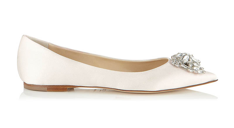 Jimmy Choo Alina Ivory Satin Flats with Crystal Detail $795