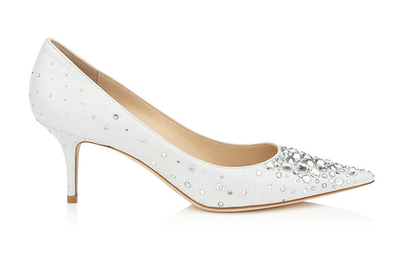Jimmy Choo Aurora White Shimmer Pointy Toe Pumps with Crystals $1,050