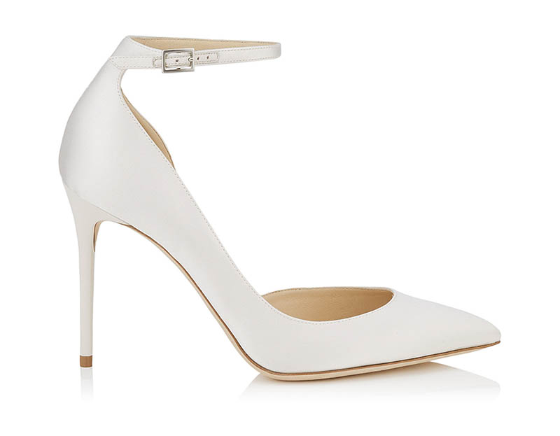 Jimmy Choo Lucy 100 Ivory Satin Pointy Toe Pumps $695