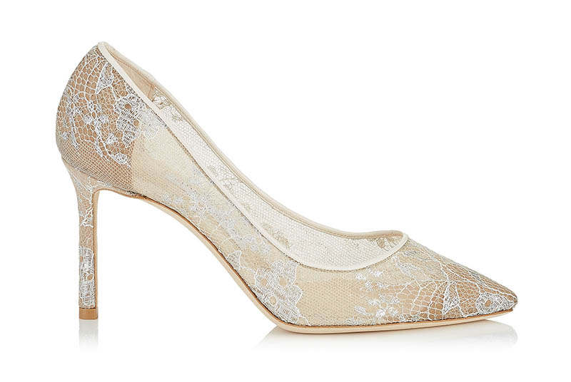 Jimmy Choo Romy 85 White Lace Pointy Toe Pumps $750