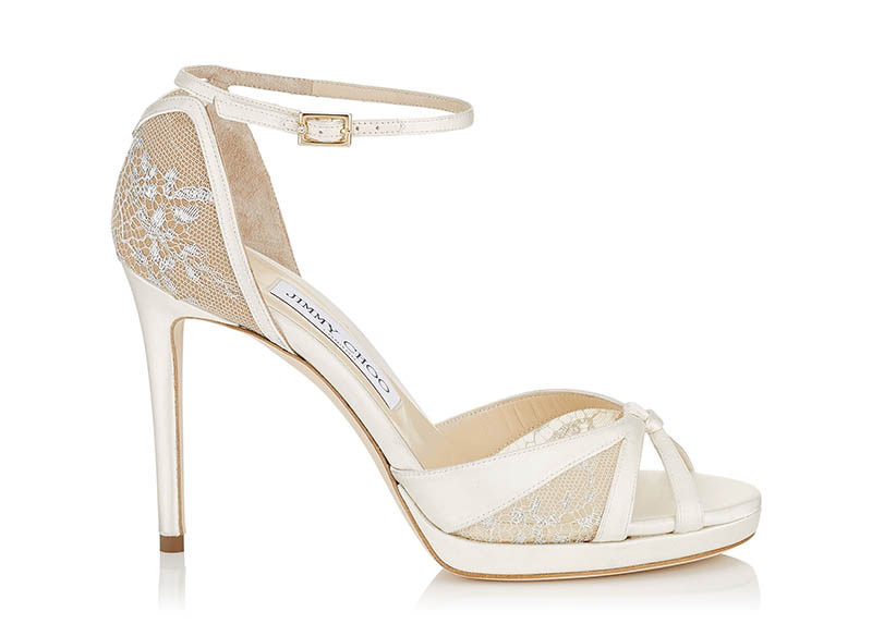Jimmy Choo Talia 100 Satin Lace Sandals $895
