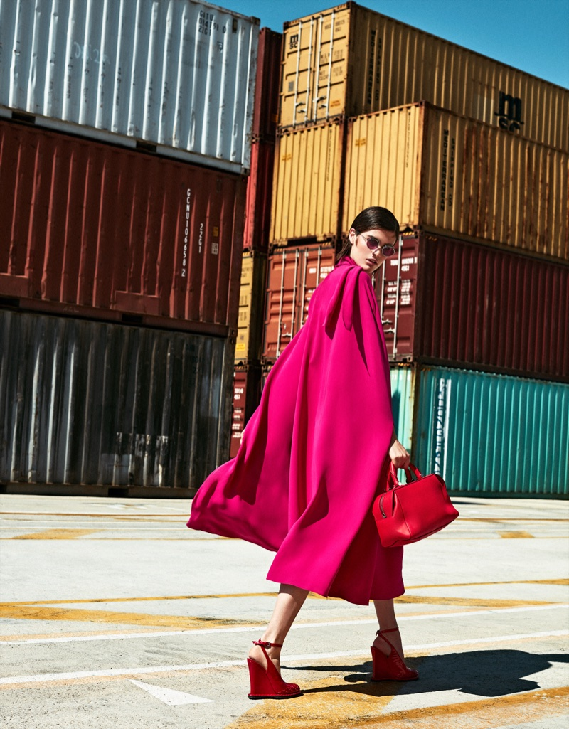 Photographed by Xavi Gordo, model Kiki Boreel poses in colorful looks for the fashion editorial