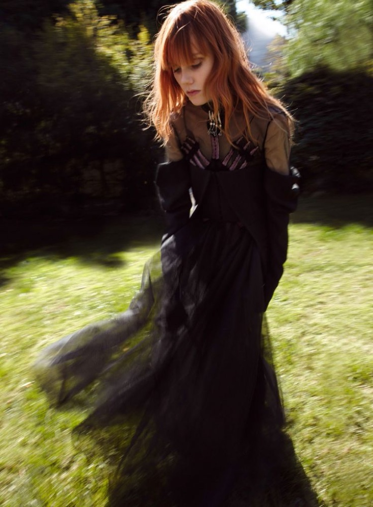 Model Kiki Willems poses in gothic inspired style for the fashion editorial