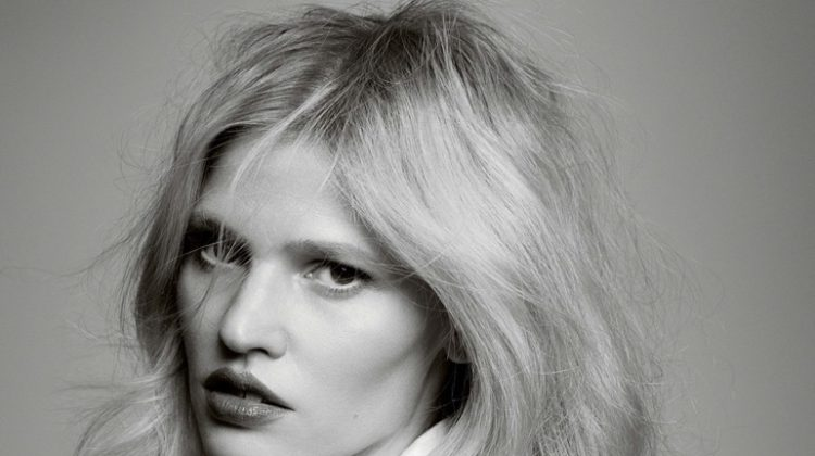 Model Lara Stone poses in minimal looks for the fashion editorial