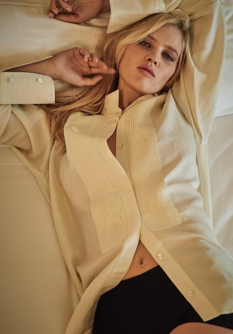 Model Lara Stone poses in casual looks for the fashion editorial