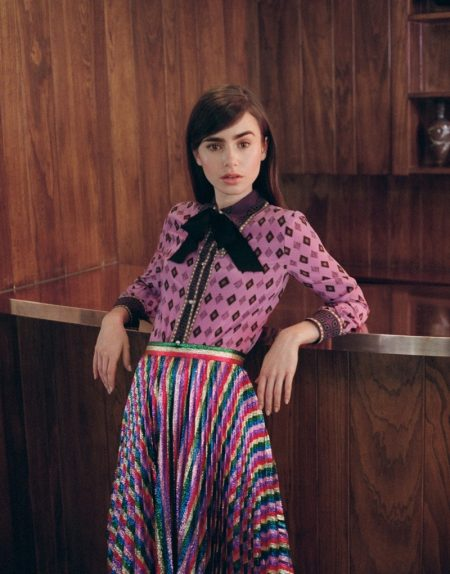 Lily Collins Stuns in Statement Prints for The Edit