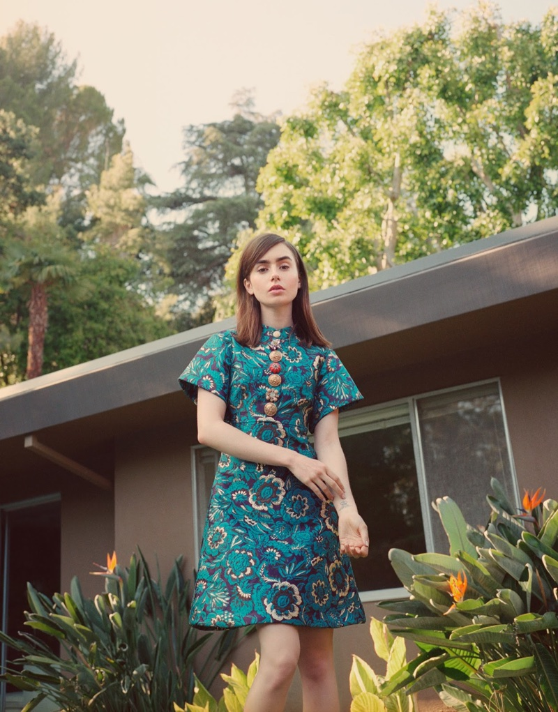 Actress Lily Collins wears Dolce & Gabbana dress
