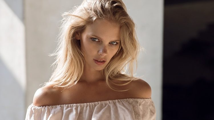 Marloes Horst wears off-the-shoulder top and briefs from LILYA's spring-summer 2017 collection