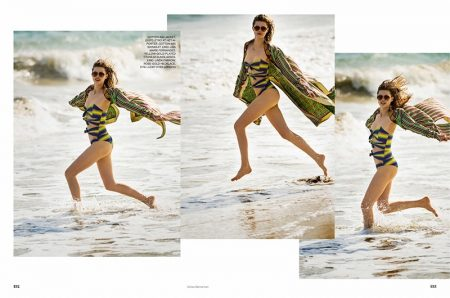 Lindsey Wixson Models Colorful Beach Fashions for ELLE UK