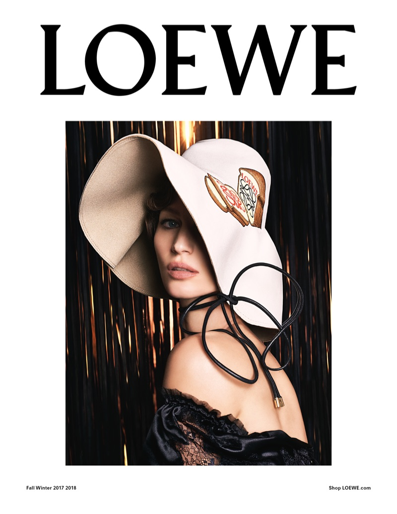 Gisele Bundchen wears a floppy hat in Loewe's fall-winter 2017 campaign