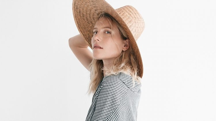 Madewell Courier Button-Back Shirt in Gingham Check and Gingham Tier Mini Skirt. Communitie Cooked Straw Hat.
