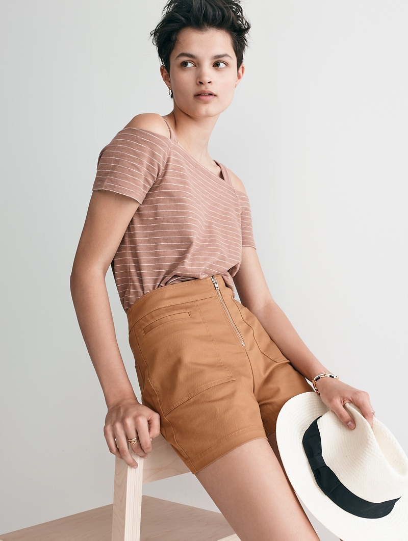 Madewell x Biltmore Panama Hat, Madewell Cold-Shoulder Tee in Warm Ash and Camino High-Rise Shorts