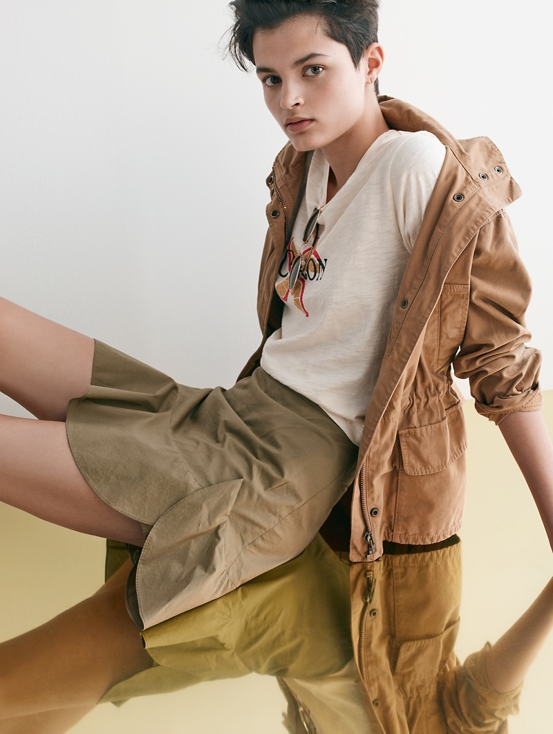 Madewell Prospect Jacket in Dark Sahara, Citron Graphic Tee and Ruffle-Wrap Mini Skirt in Expat Olive