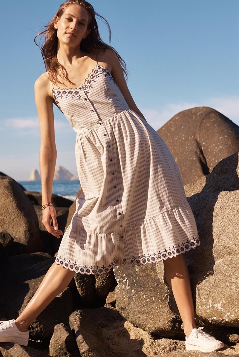 Madewell Embroidered Jardin Midi Dress and Tretorn Nylite Plus Sneakers