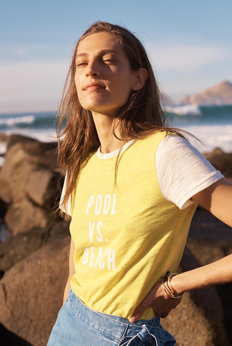 Madewell Hi-Fi Pool vs Beach Shrunken Tee and Raw-Hem Wrap Jean Skirt