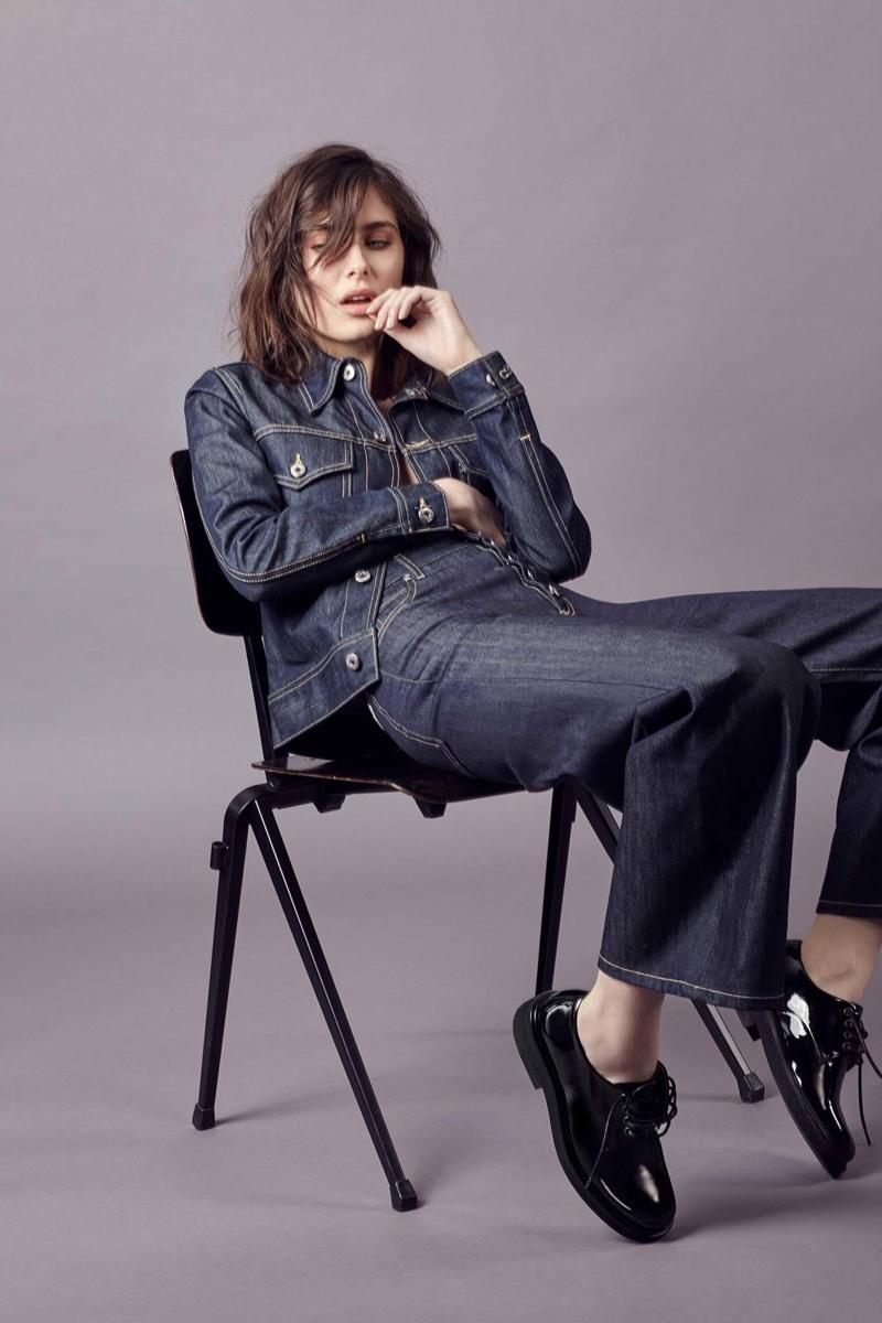 Eve Denim Kalia Denim Jacket $353 and Charlotte High-Rise Wide-Leg Jeans $338