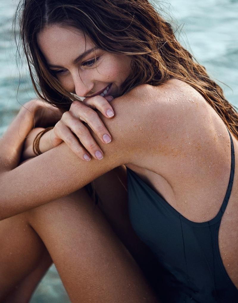 Mathilde Gøhler Poses in Chic Swimsuit Looks for ELLE Denmark