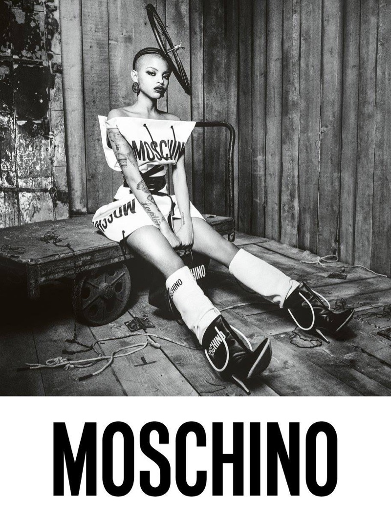 An image from Moschino's fall 2017 advertising campaign starring Slick Woods