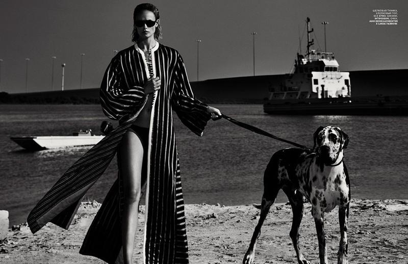 Natasha Poly is a Beach Babe in Vogue Russia Cover Story