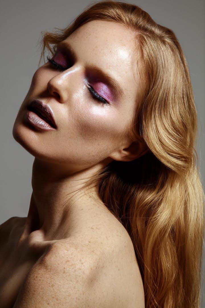Nell Rebowe wears shimmering makeup looks in the beauty shoot. Photo: Jeff Tse