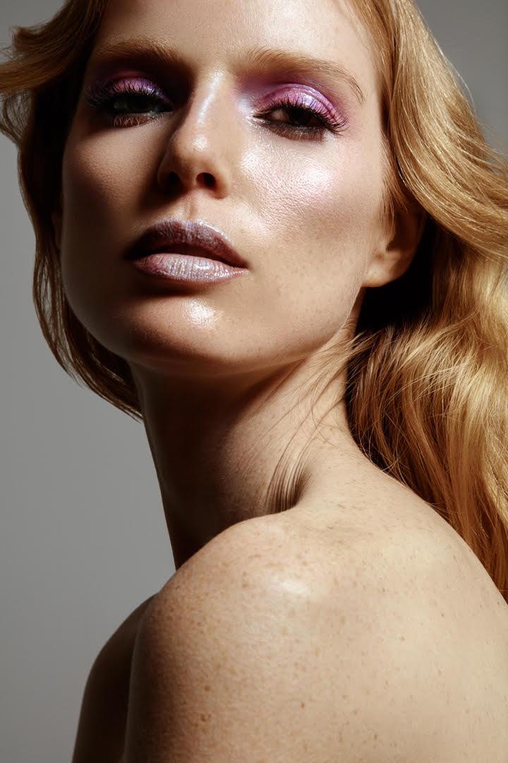 Model Nell Rebowe wears lilac eyeshadow. Photo: Jeff Tse