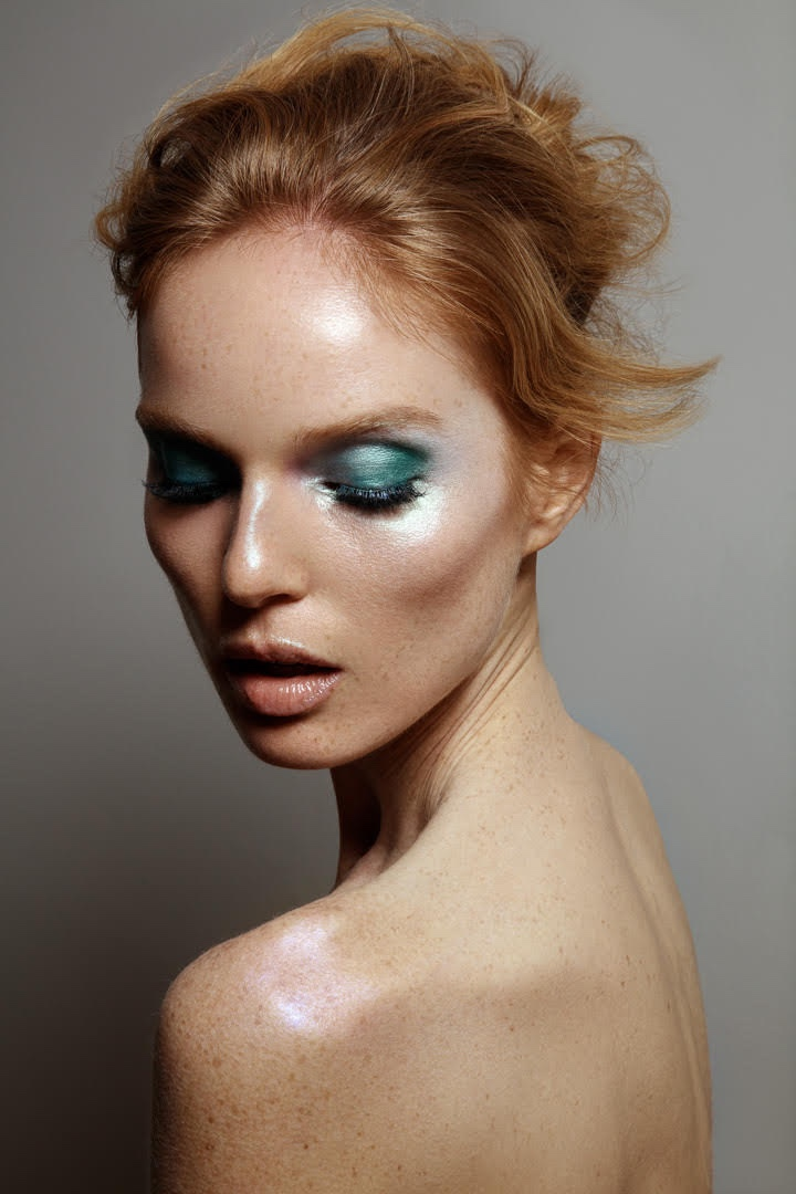 Nell Rebowe showcases blue eyeshadow. Photo: Jeff Tse