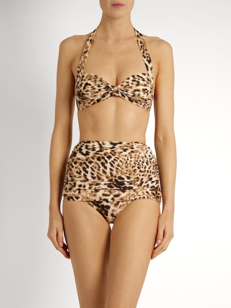 Norma Kamali Bill Bra Leopard-Print Bandeau Bikini Top $110 and Bill Leopard Print High-Rise Bikini Briefs $125