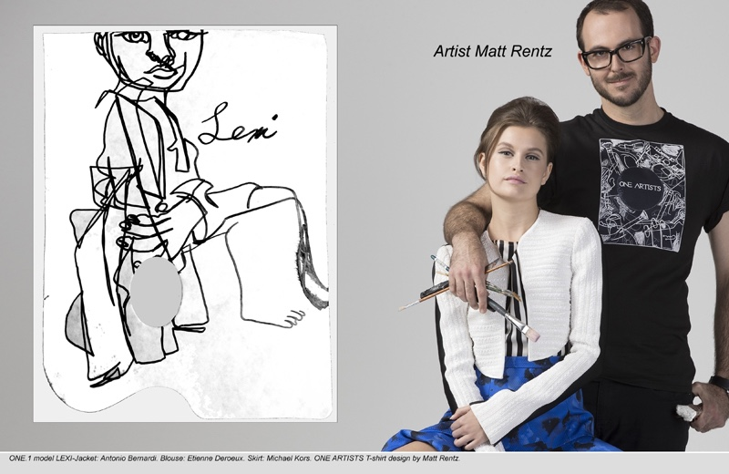 Lexi wears Antonio Bernardi Jacket, Etienne Deroeux Blouse and Michael Kors Skirt. Artist Matt Rentz wears One Artists T-Shirt.
