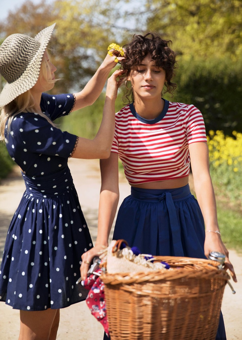 (Left) & Other Stories Wide Brim Straw Hat and Dotted Dress (Right) & Other Stories Contrast Neck Striped Tee and A-line Skirt
