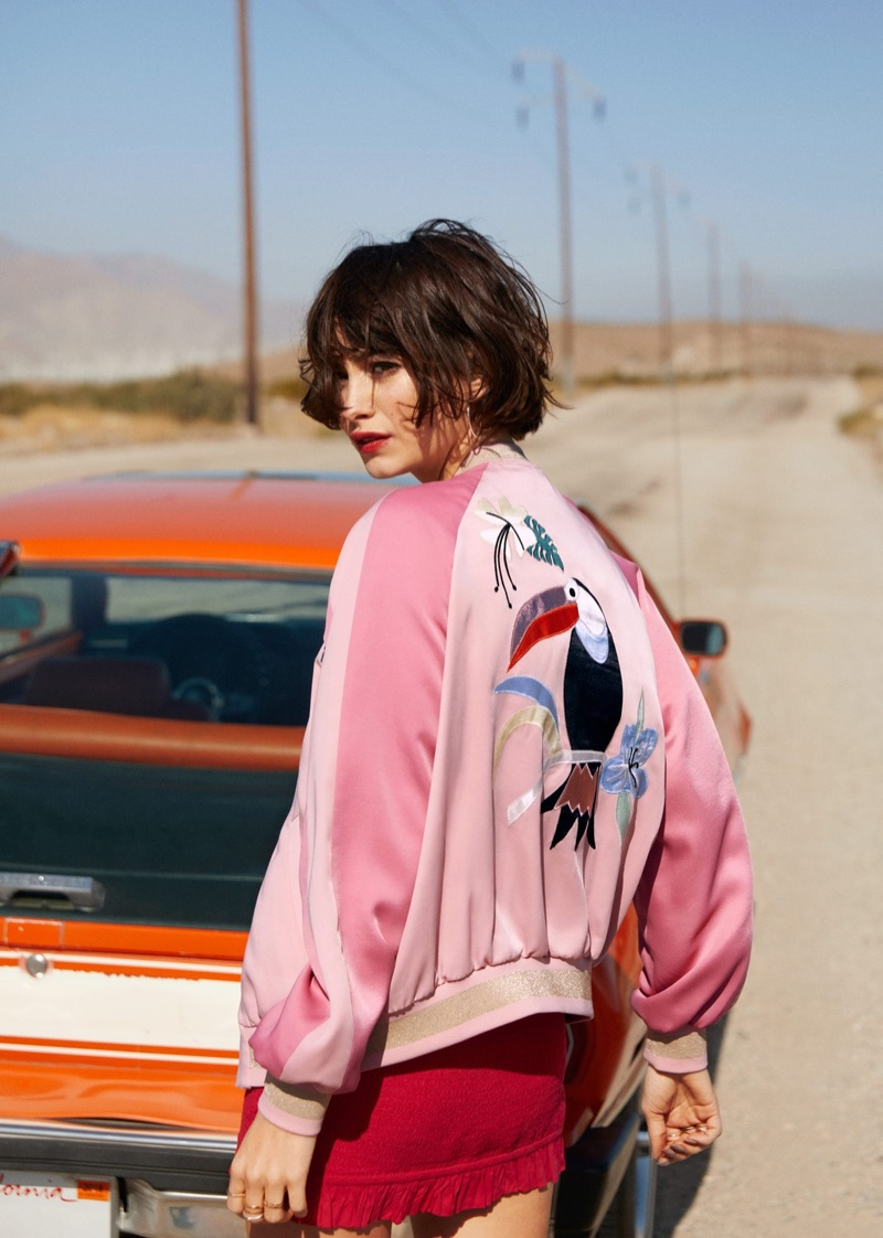 & Other Stories Embroidery Bomber Jacket and Smocked Mini Dress