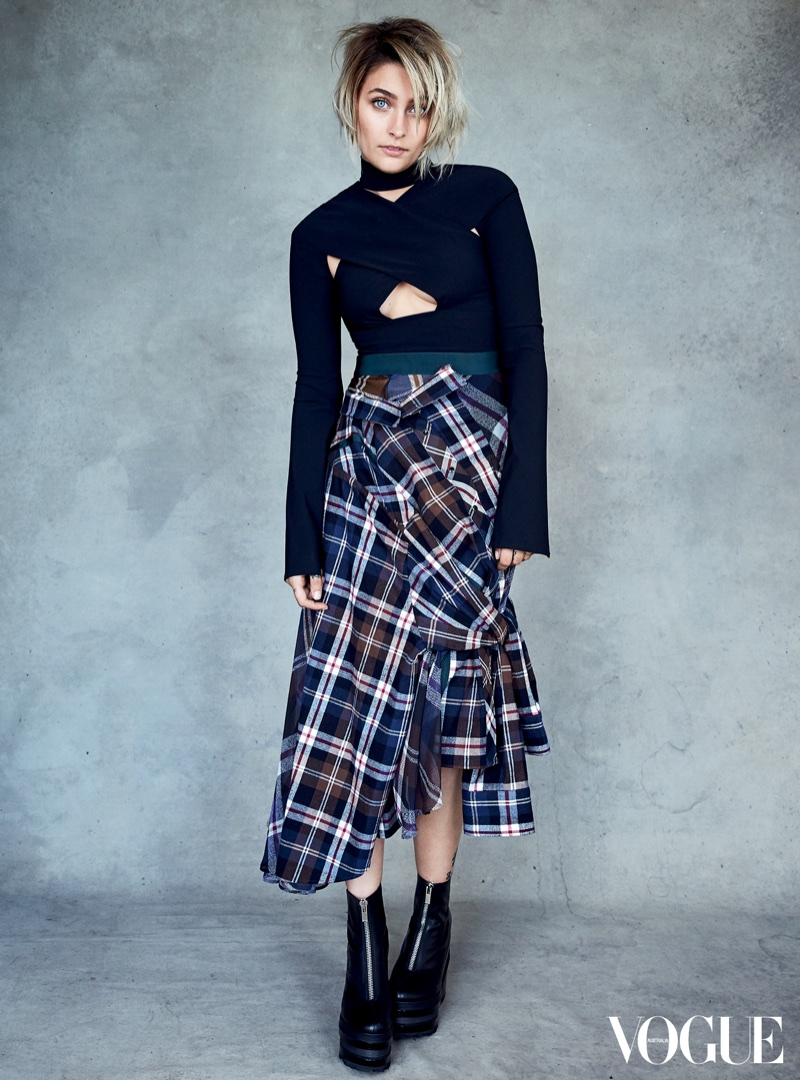 Paris Jackson embraces plaid style in Vogue Australia