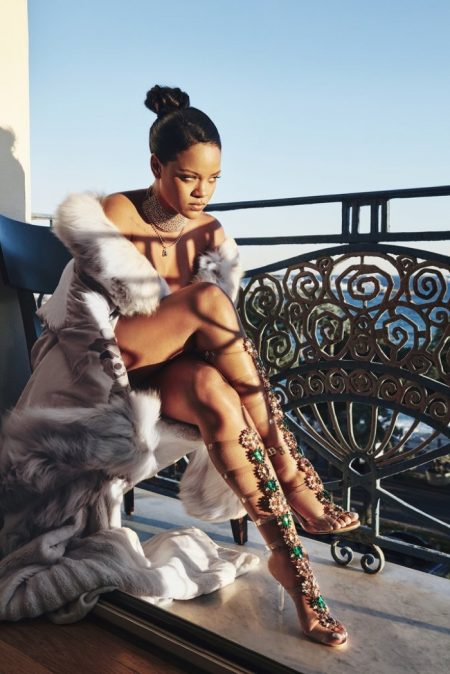 Singer Rihanna showcases a design from the Manolo Blahnik So Stoned shoe collaboration