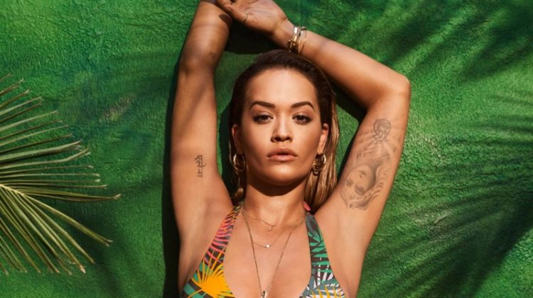 Channeling tropical vibes, Rita Ora wears retro inspired bikini styles from Tezenis