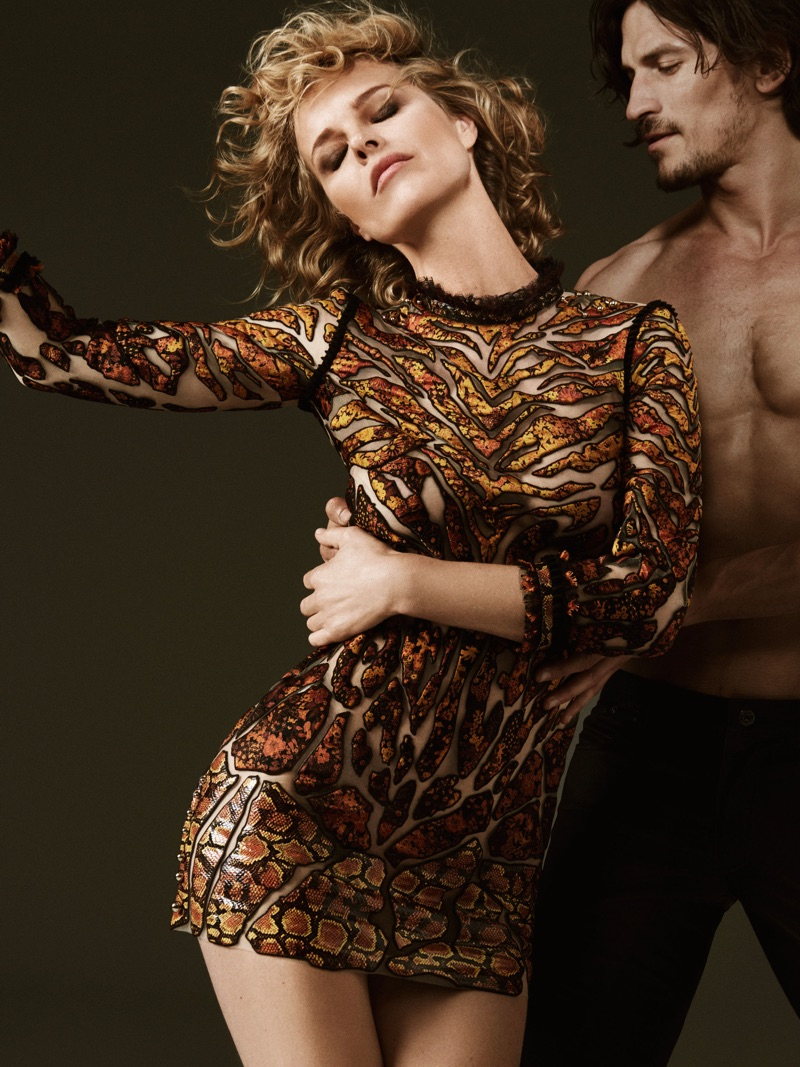 Eva Herzigova and Jarrod Scott star in Roberto Cavalli's fall-winter 2017 campaign