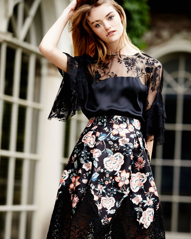 Sachin & Babi Mina Silk Lace-Yoke Blouse $425 Bonnie Floral-Print Full Skirt $495