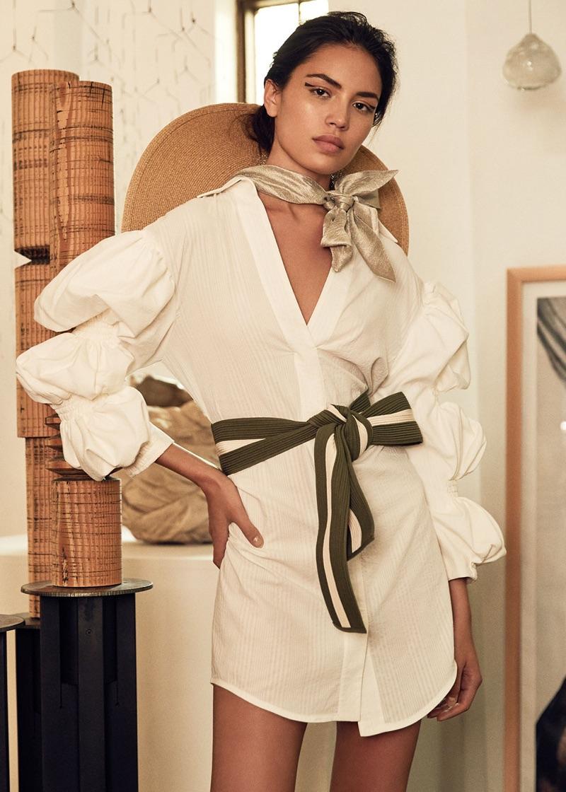 Jacquemus Ruched Sleeve Dress $1,044, Eugenia Kim Bunny Hat $475 and Johanna Ortiz Momposina Belt $350