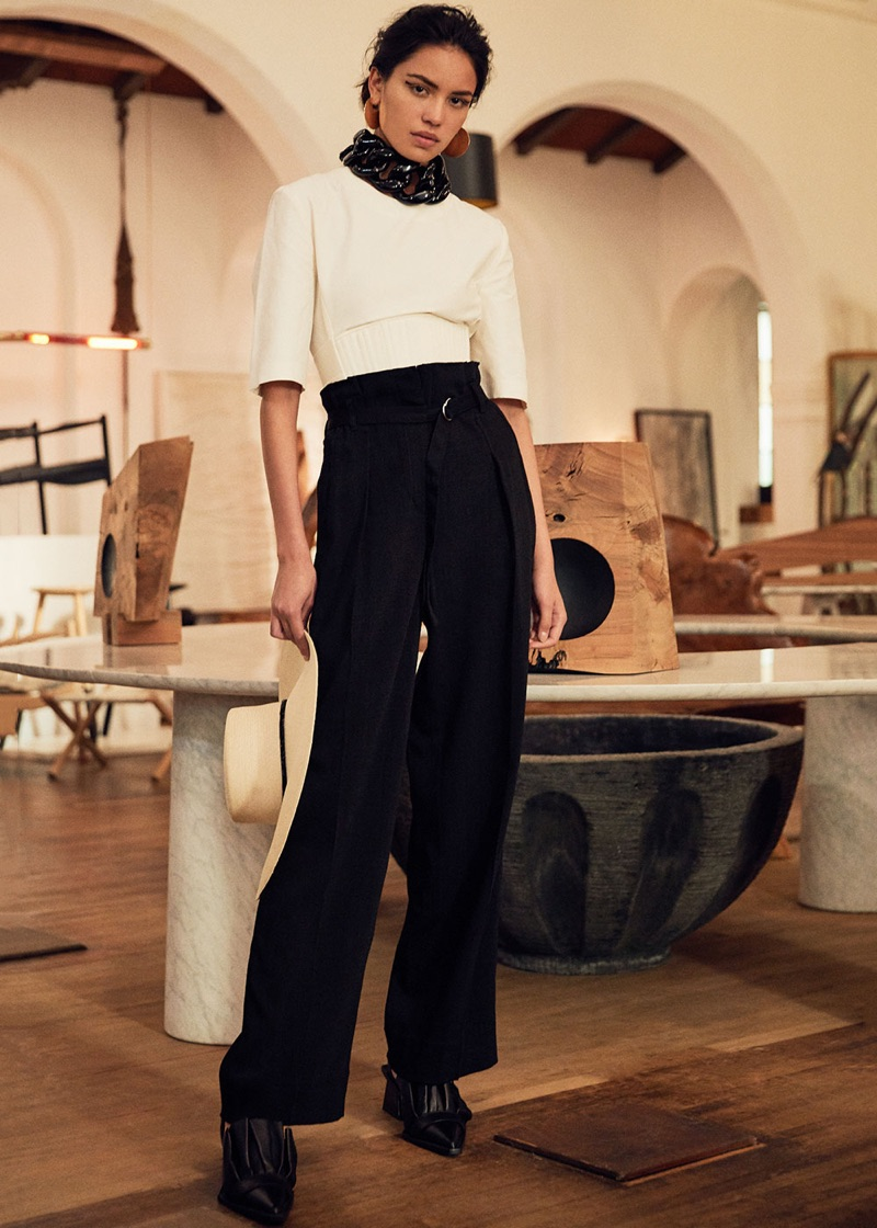 Stella McCartney Compact Cotton Corset Top $865, 3.1 Phillip Lim Paper Bag Waist Pant $595, Marques'Almeida Pointy Frill Lace Up Leather Shoes $605, Marques'Almeida Chain Choker Necklace $240, Isabel Marant Boucle Oreille Earrings in Gold $255 and Eugenia Kim Loulou Hat $395