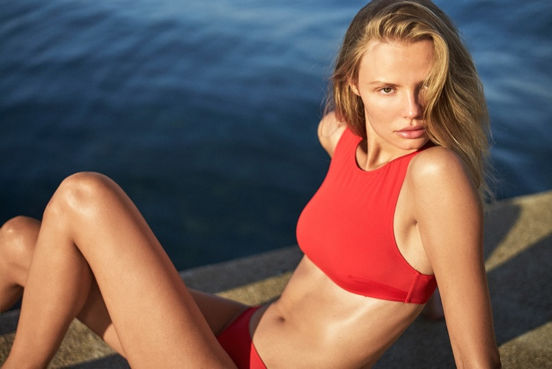 Magdalena Frackowiak wears red swimsuit from Solid & Striped's summer collection